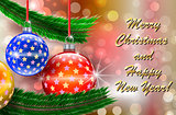 Merry Christmas and Happy New Year greetings card