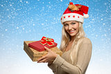 christmas girl with gift boxes