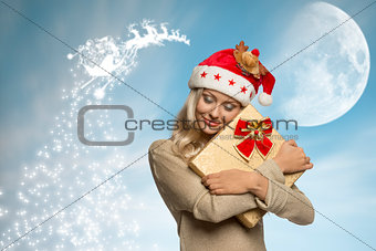 adorable christmas female with present