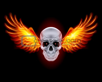 Skull with fire wings.