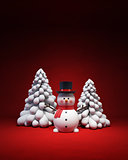 happy snowman with fir-tree