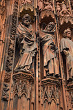 closeup view of  Notre-Dame cathedral at Strasbourg, France