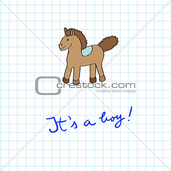 baby arrival card with horse