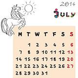 horse calendar 2014 july