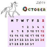 horse calendar 2014 october