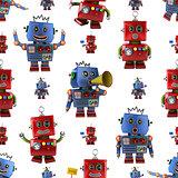 Vintage toy robot pattern