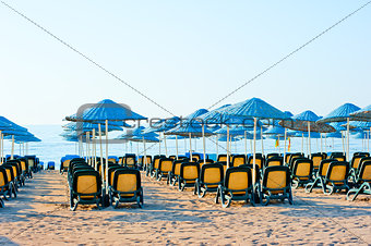 neat rows of sun loungers on the beach
