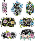 oval-shaped flower ornamental decorations
