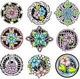 round flower ornamental decorations