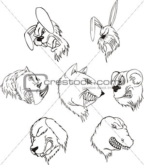 Aggressive animal heads