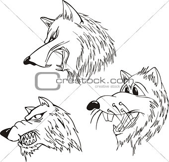 Aggressive wolf heads