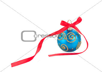 Blue Christmas ball with red bow