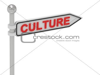 CULTURE arrow sign with letters