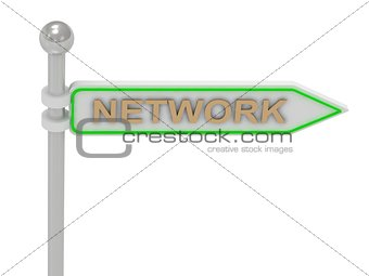 "3d rendering of sign with gold ""NETWORK"""