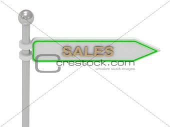"3d rendering of sign with gold ""SALES"""