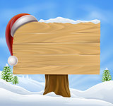 Snow Landscape Christmas Santa Hat Sign
