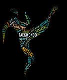 taekwondo pictogram with colorful related wordings on black back