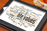 life values word cloud