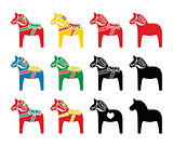 Swedish dala horse vector icons set