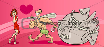 cavemen couple in love valentine card