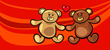 teddy bears in love valentine card