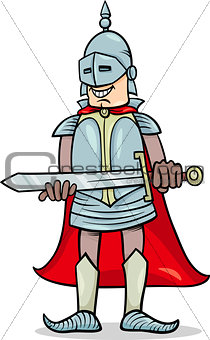 knight with sword cartoon illustration