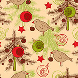 Seamless pattern with birds and Christmas tree