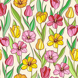 Pattern with red and yellow tulips