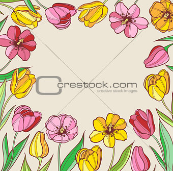 Background with red and yellow tulips