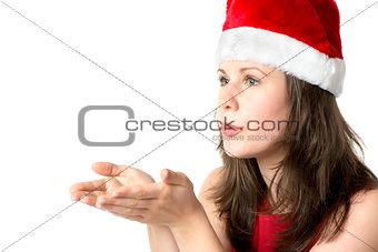 Santa woman with hands at face