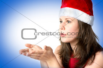 Santa woman with hands at face on blue