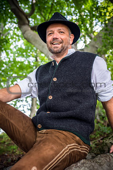 Sitting traditional Bavarian man