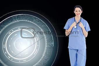 Composite image of smiling medical intern wearing a blue short-s