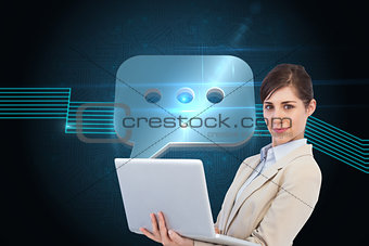 Composite image of confident young businesswoman with laptop