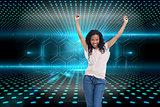 Composite image of a young happy woman stands with her hands in