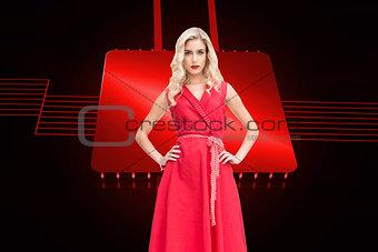 Composite image of elegant blonde standing hands on hips