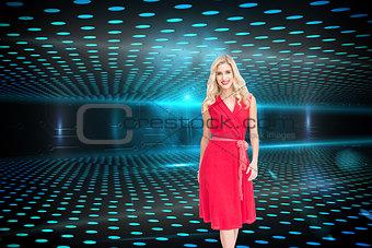 Composite image of smiling blonde walking