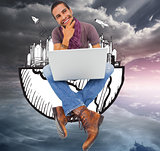 Composite image of thinking man sitting on floor using laptop an