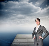Composite image of attractive customer service agent with headse