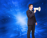 Composite image of standing businessman shouting through a megap
