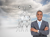 Composite image of charismatic young businessman with arms cross