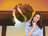 Composite image of thoughtful woman placing her finger on her ch