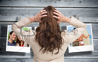 Composite image of young classy businesswoman with hands on head