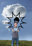 Composite image of young man showing screen of his tablet comput