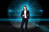 Composite image of portrait of a confident businesswoman standin