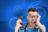 Composite image of frustrated computer engineer screaming while
