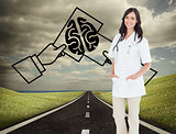 Composite image of confident and smiling woman doctor standing i