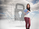 Composite image of smiling student in a computer room