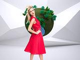 Composite image of happy blonde posing
