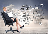 Composite image of businesswoman sitting on swivel chair in blac